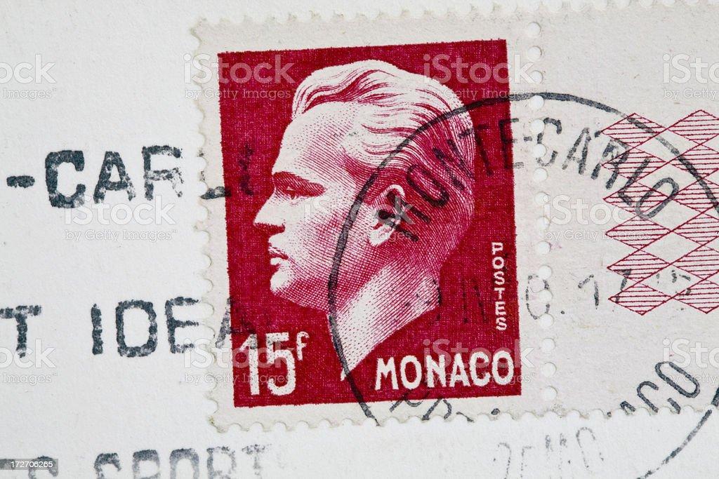 Monaco Stamp royalty-free stock photo