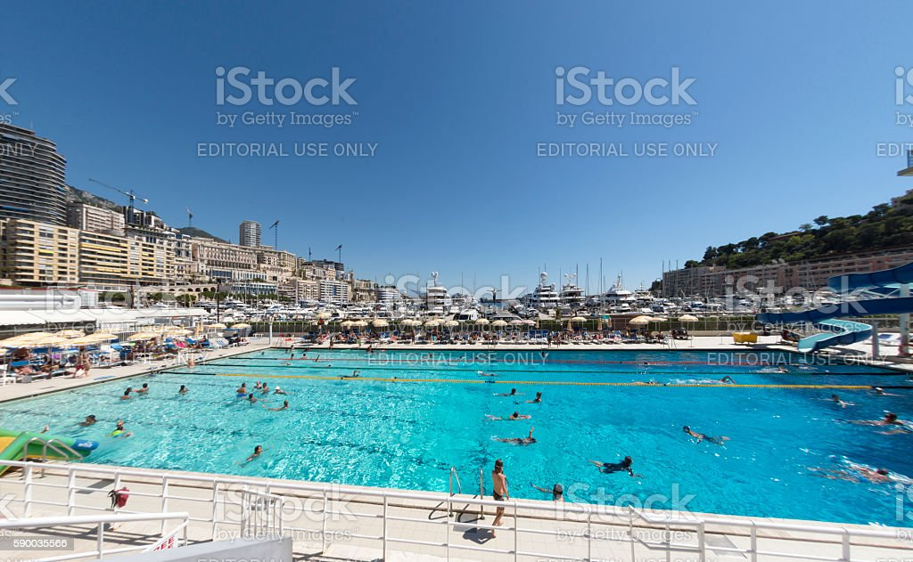 Monaco Swimming Pool stock photo