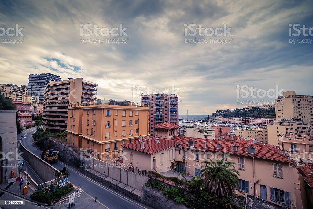 Monaco: top view of the city stock photo