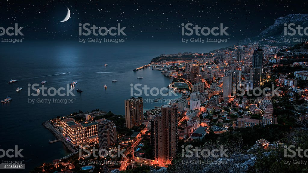 Monaco under the moonllght stock photo