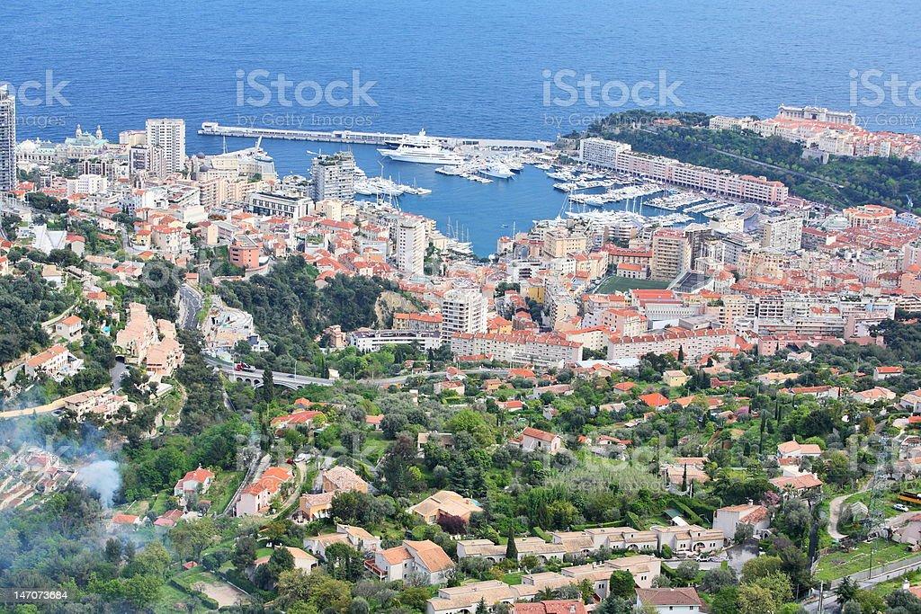 Monaco view from La Turbie stock photo