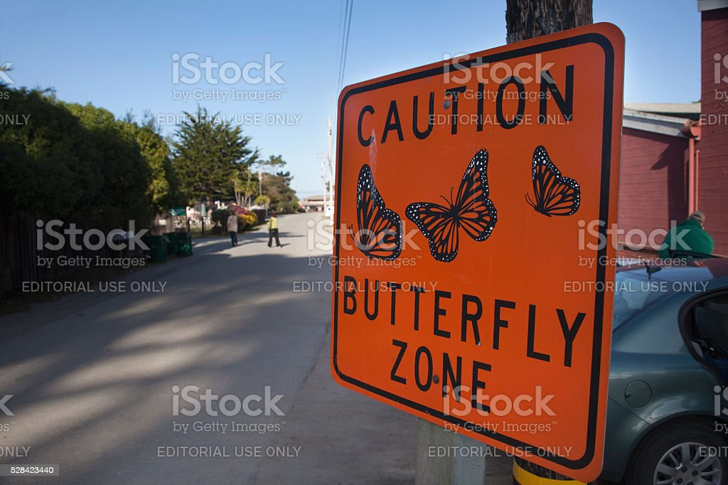 Monarch Butterfly Zone Caution sign California Pacific Grove stock photo
