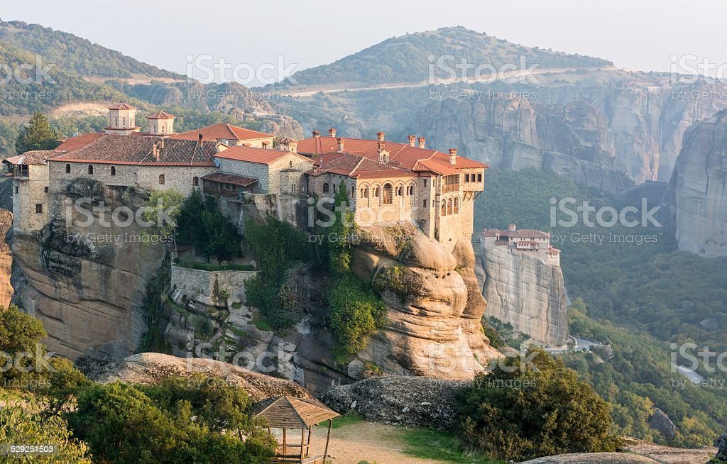 Monasteries build on top of sandstone ridge stock photo