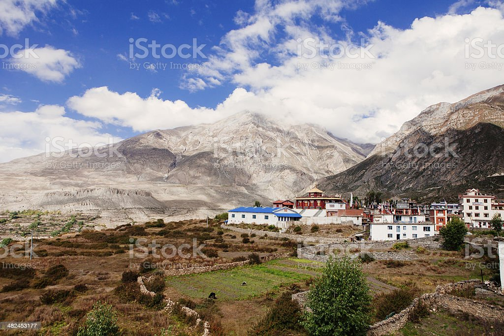 Monasteries in the Annapurna region of Nepal. stock photo