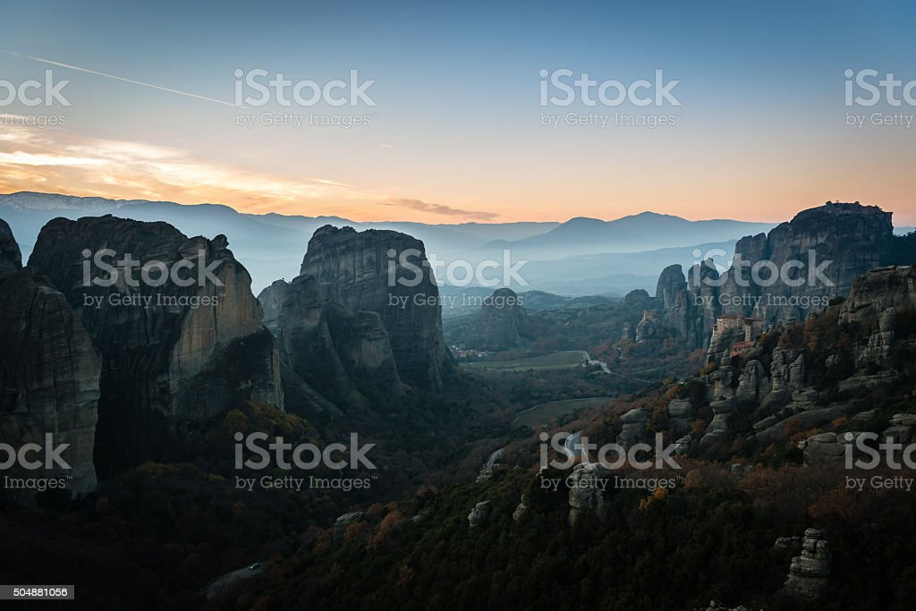 Monasteries on the rocks in Meteora, Greece stock photo