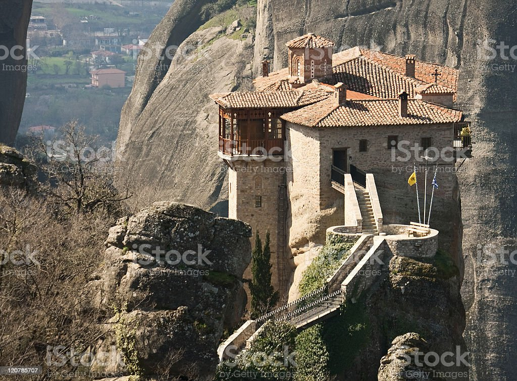 Monastery Agias Varvaras Roussanou stock photo