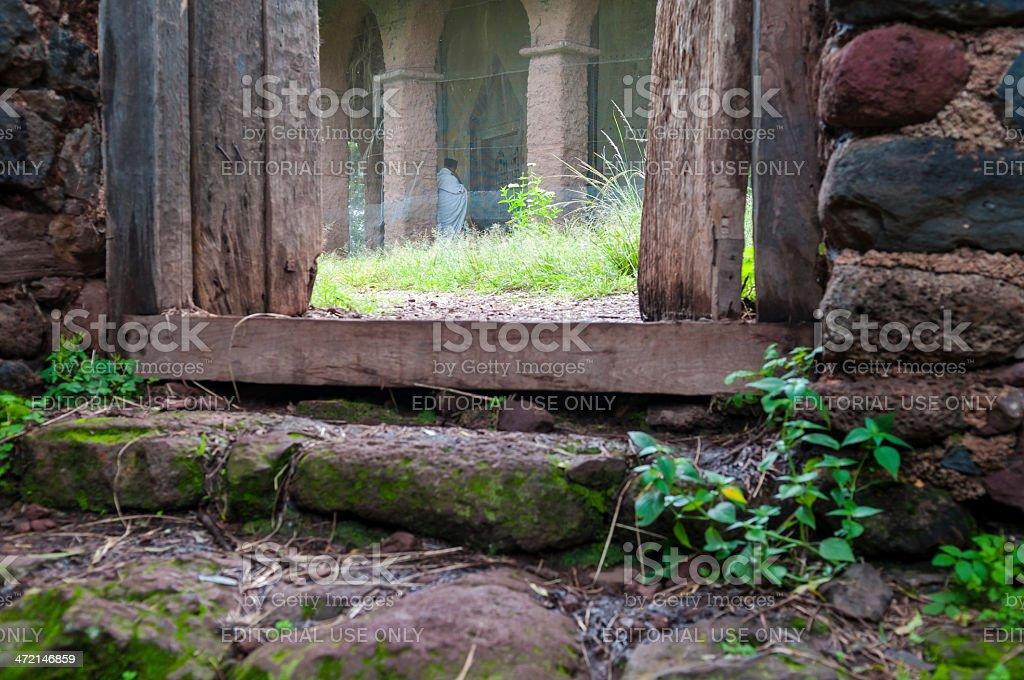 Monastery and monk in Ethiopia stock photo