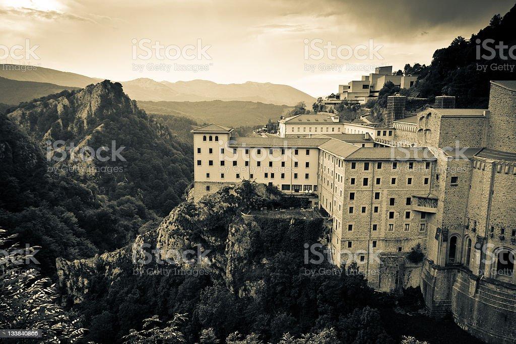 Monastery and mountain stock photo