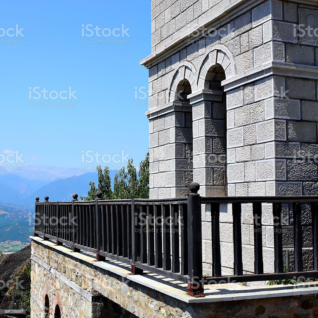 monastery and rocks Meteora stock photo