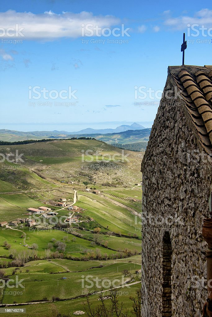 Monastery and valley in Sicily stock photo