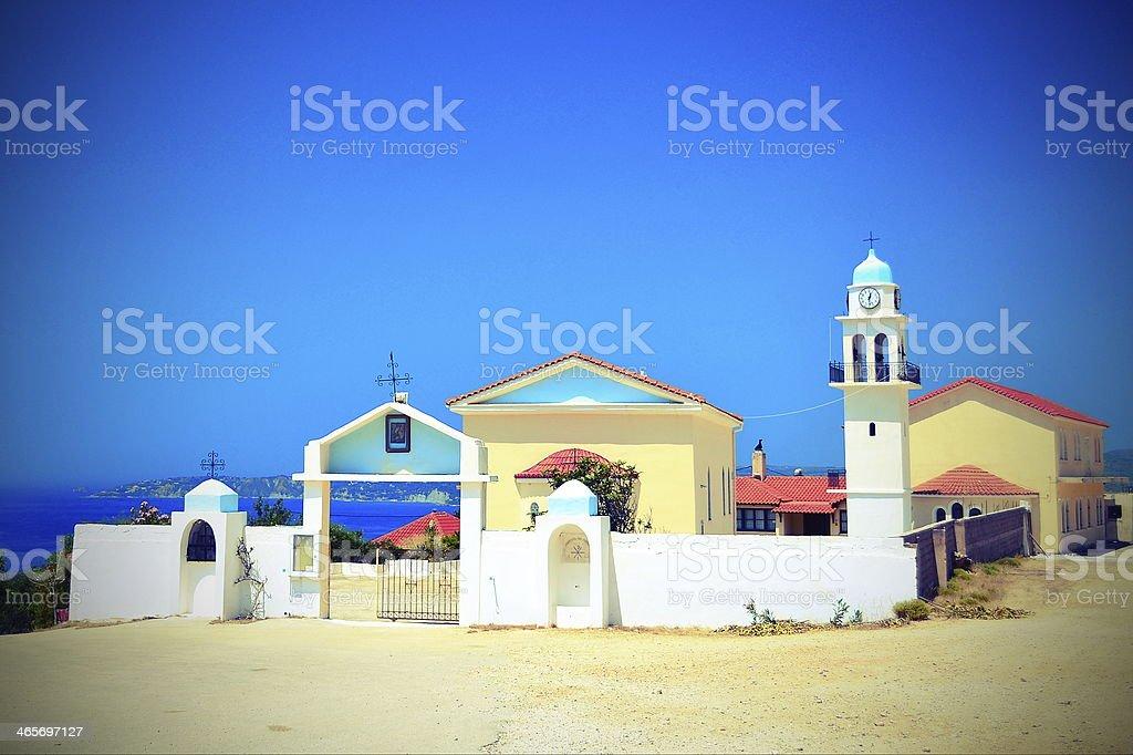 Monastery at Cephalonia stock photo