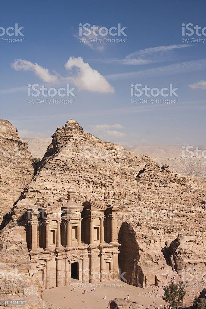 Monastery at Petra in Jordan royalty-free stock photo