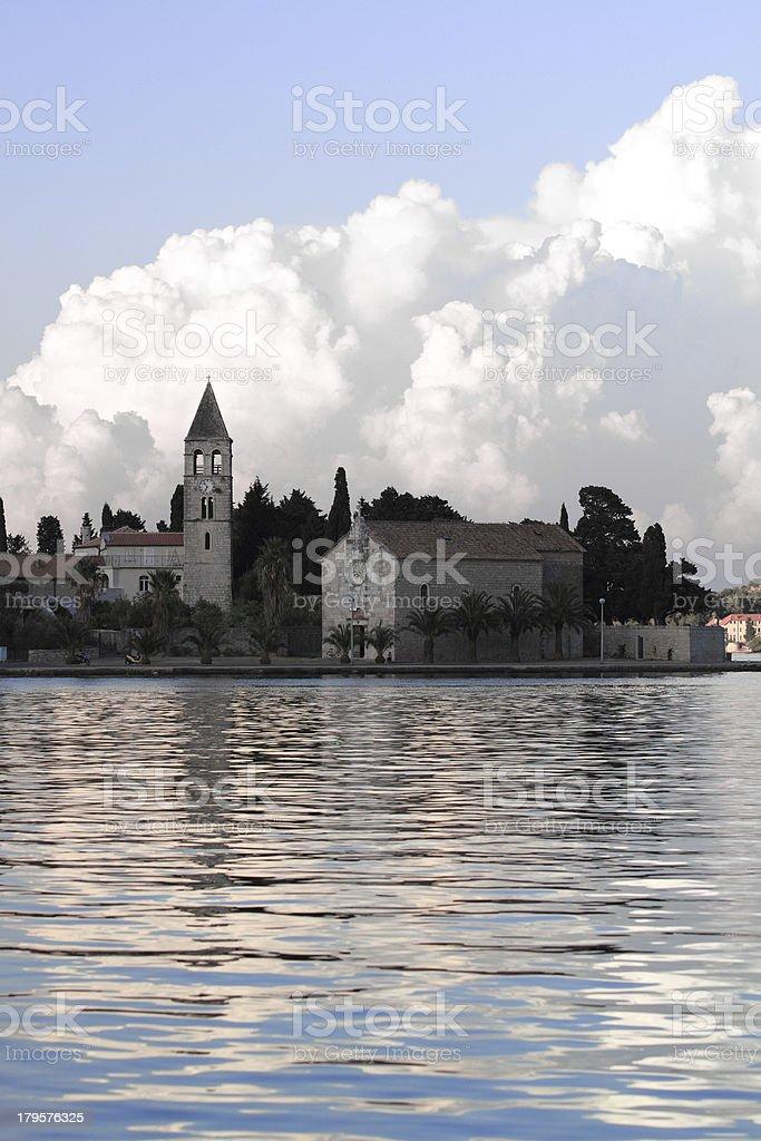 Monastery at the bay of Croatian island Vis royalty-free stock photo