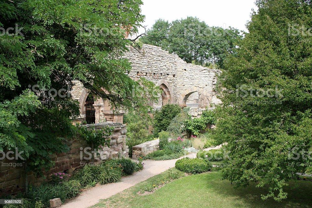 Monastery Cloister Abbey Ruin stock photo