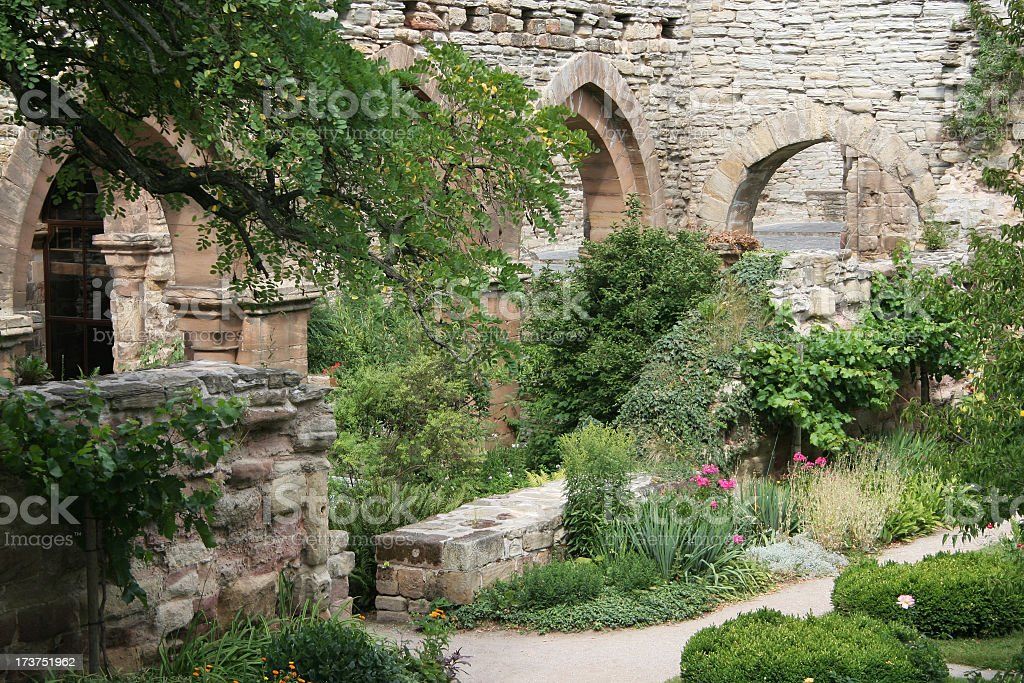 Monastery Cloister Abbey Ruin with pointed archs stock photo