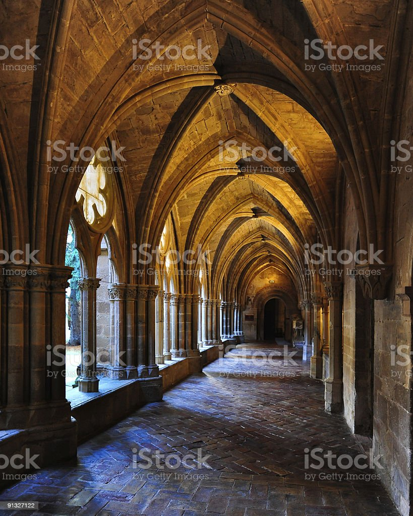 Monastery cloister stock photo