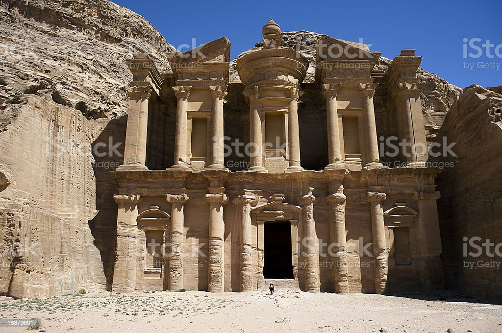 Monastery in Petra. Jordan stock photo
