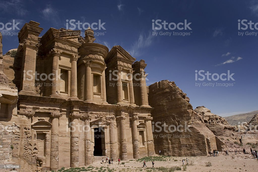 Monastery in the archaeological site at Petra stock photo