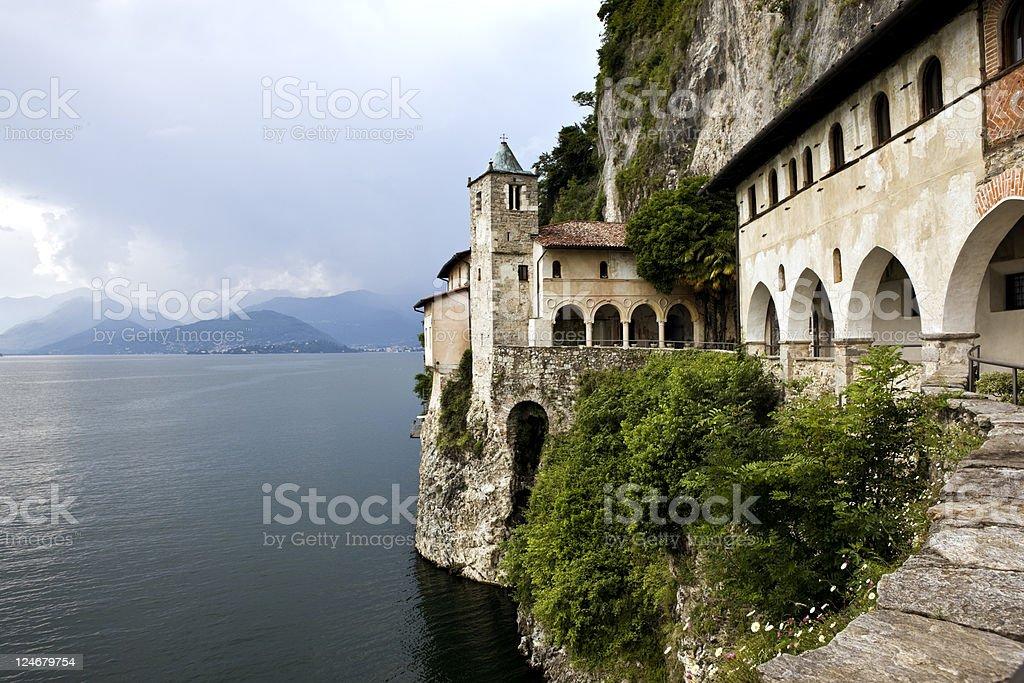 Monastery Lake. Santa Caterina del Sasso. Color Image stock photo