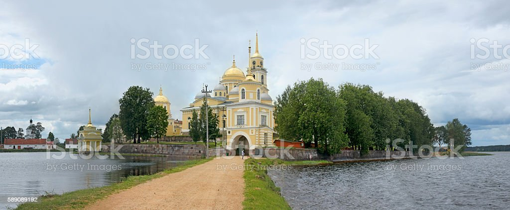 Monastery Nilov on Stolobny island on Lake Seliger. Russia stock photo