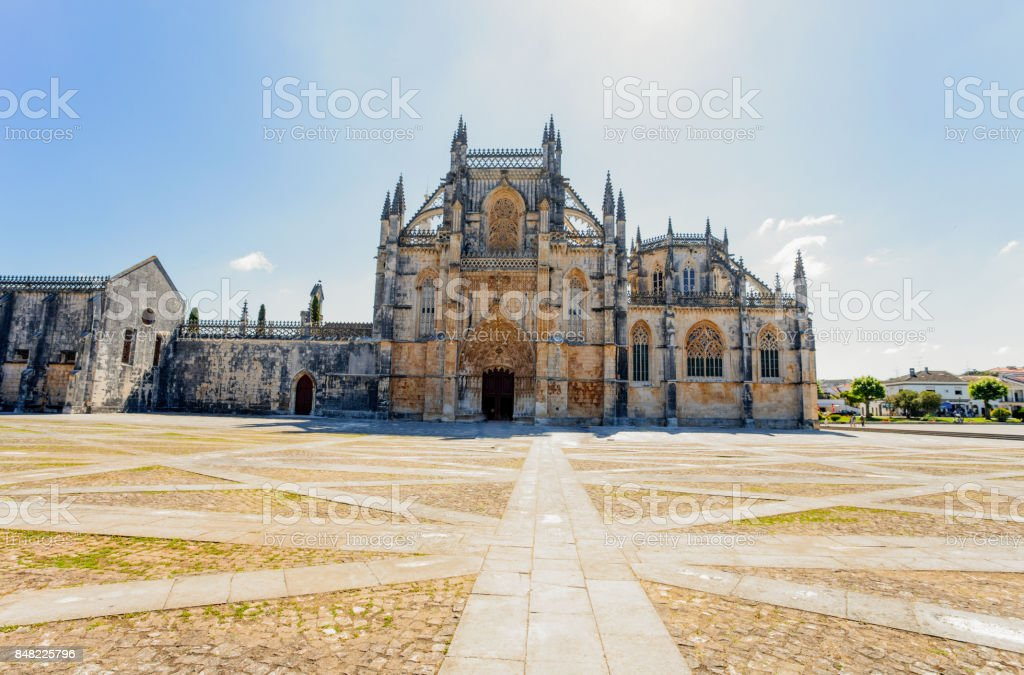 BATHALHA, PORTUGAL - JUNE 18. Monastery of Batalha in Portugal on June 18, 2016. Monastery of Batalha is a Dominican convent in the civil parish of Batalha in Portugal. stock photo