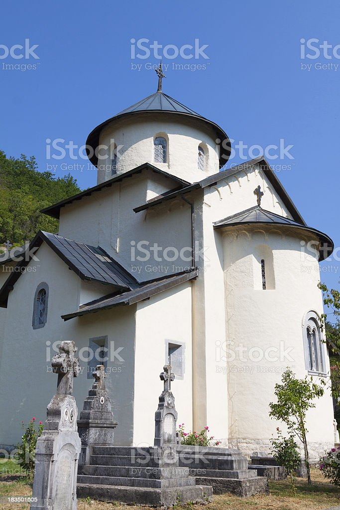 Monastery on banks of the River Moraca royalty-free stock photo