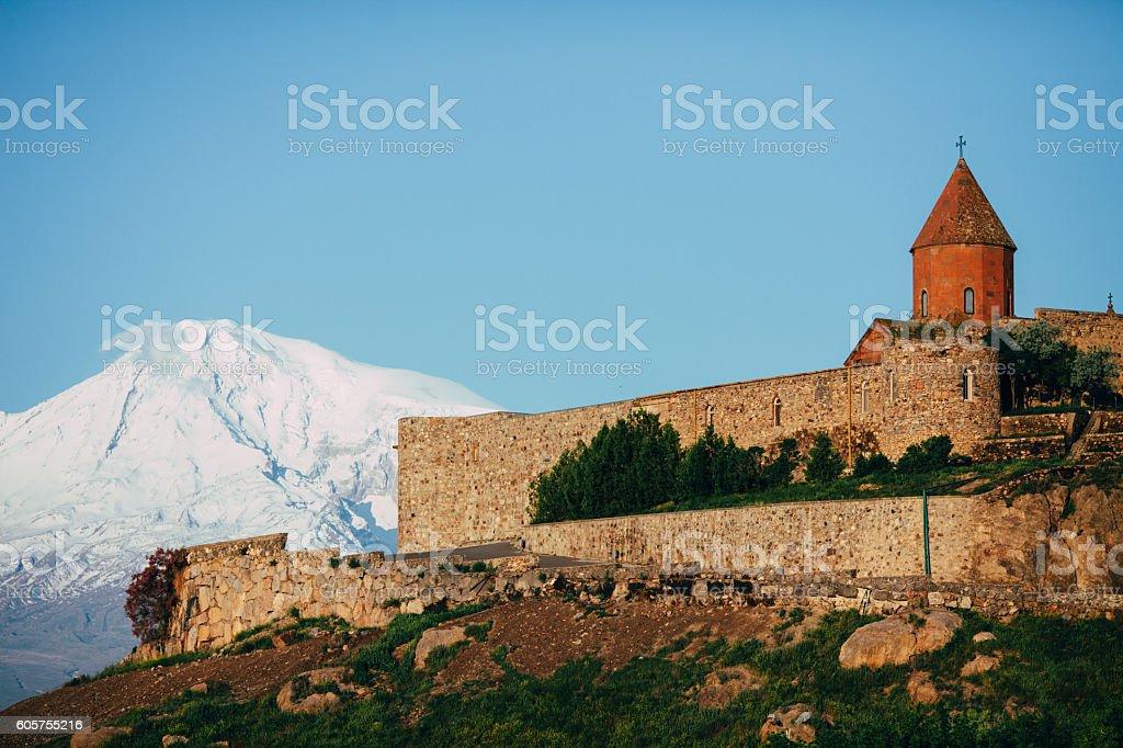 Monastery on the background of Ararat stock photo