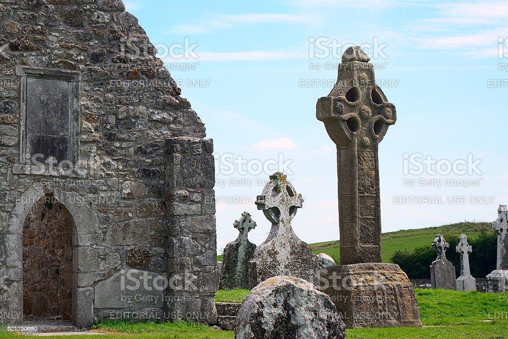 Monastery ruins, Clonmacnoise, Ireland stock photo