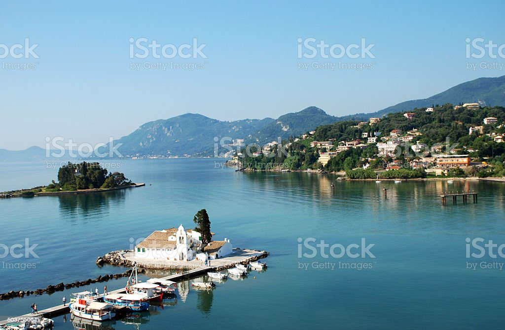 Monastery Vlahelna, Kerkyra, Corfu Island, Greece stock photo