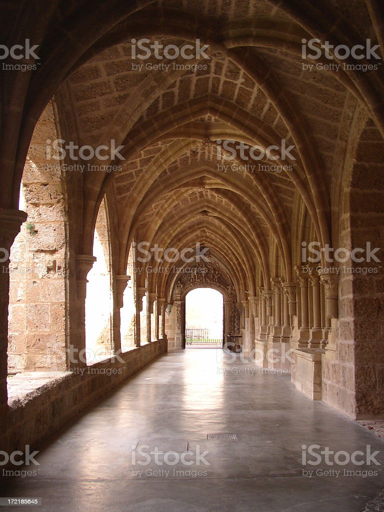 Monastery with library royalty-free stock photo