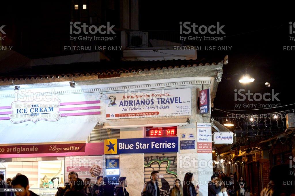 Monastiraki square at night with Adrianos travel and commuters stock photo