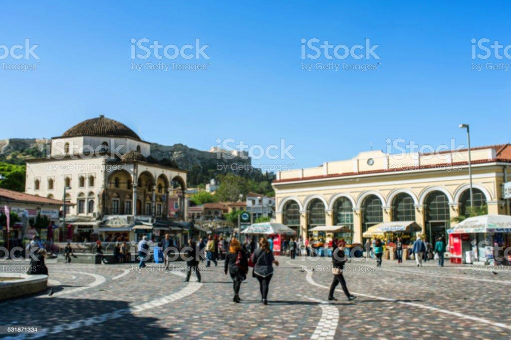 Monastiraki square in Athens stock photo
