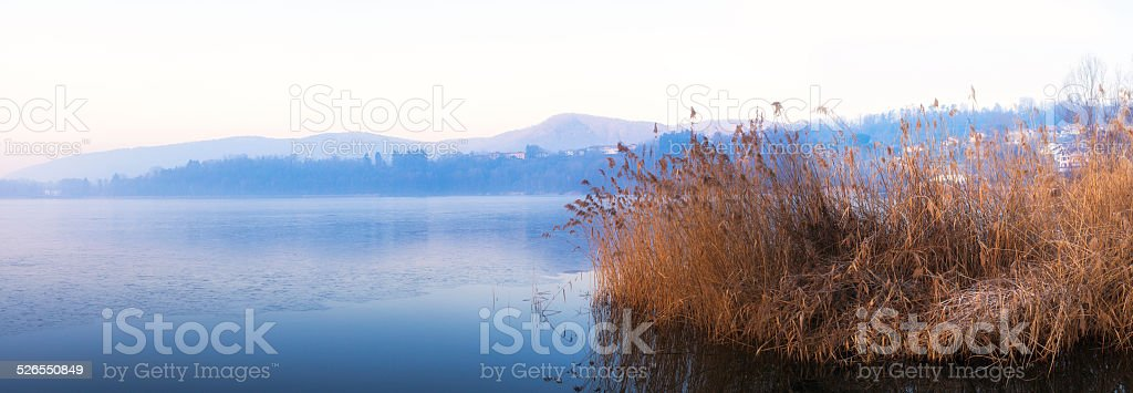 Monate lake, winter time. Color image stock photo
