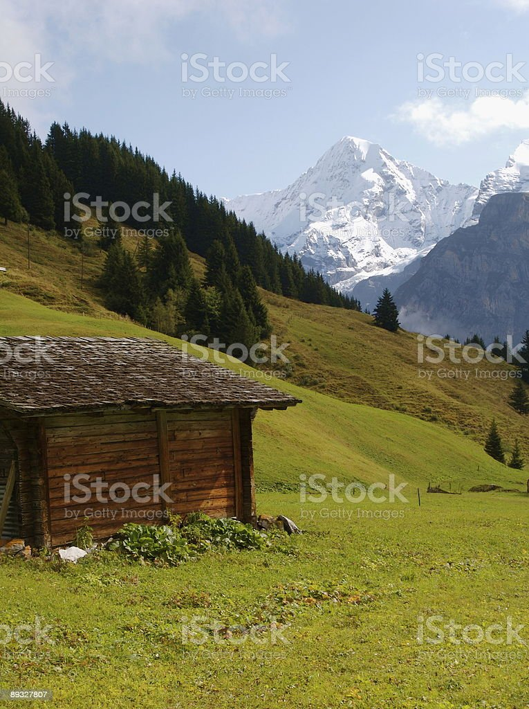 Monch Mountain Rising Above Swiss Highlands stock photo