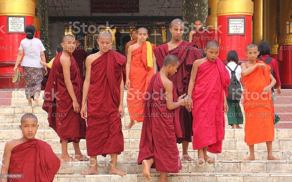 Monchs at Bago Pagoda stock photo