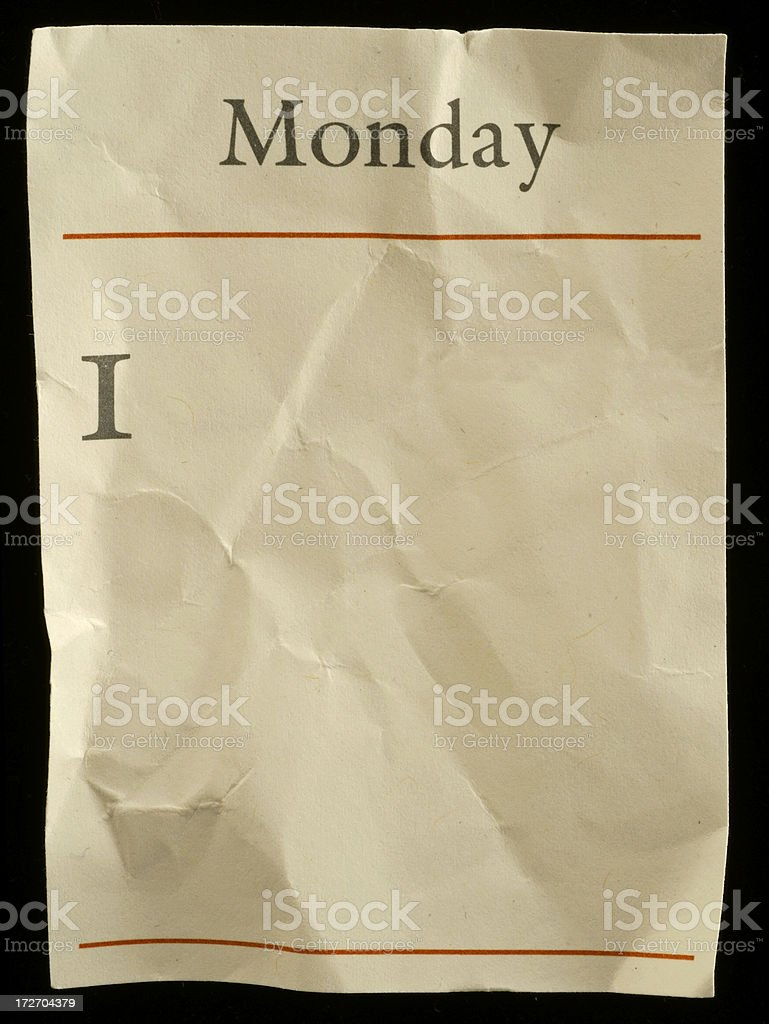 Monday crumbled royalty-free stock photo