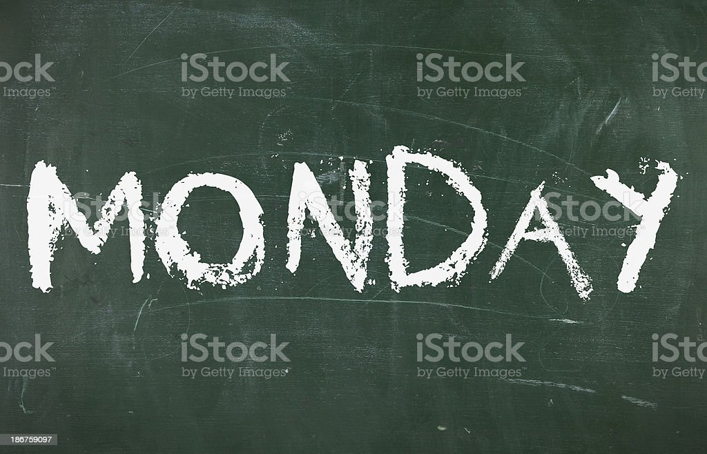 Monday on chalkboard royalty-free stock photo