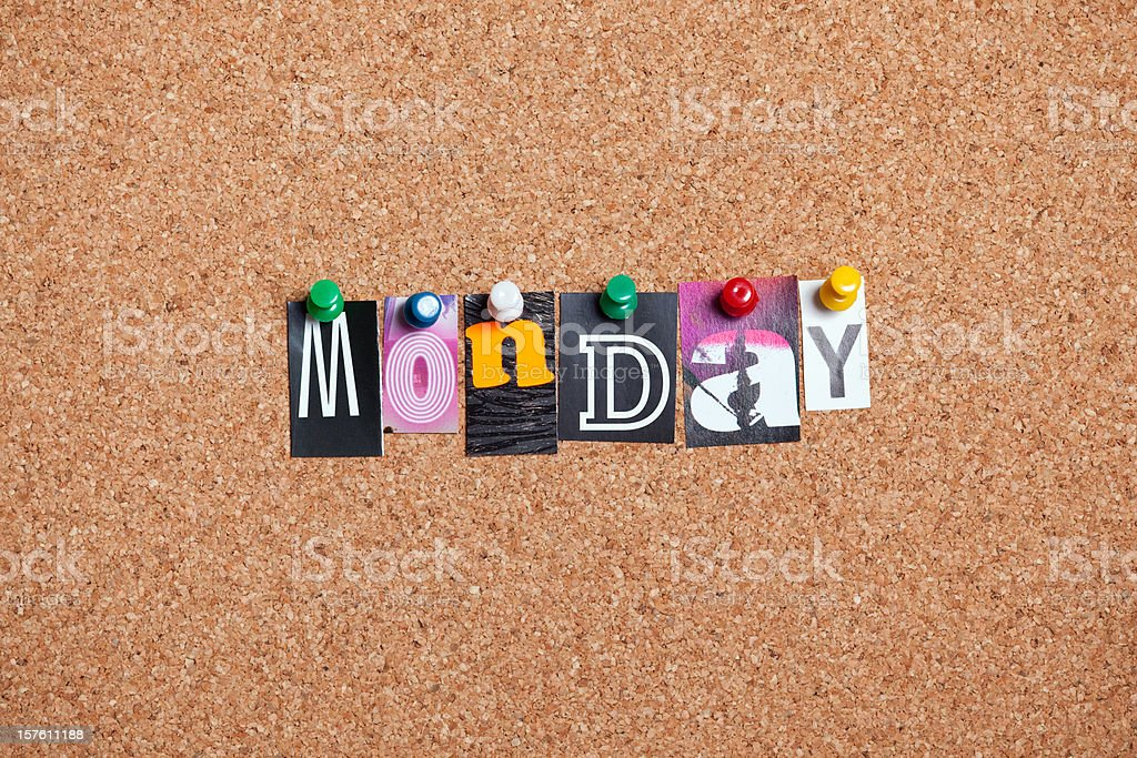 Monday pinned on bulletin cork board royalty-free stock photo