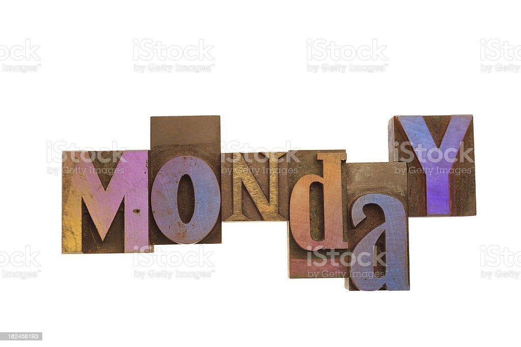 Monday - Vintage Wood Letterpress. royalty-free stock photo