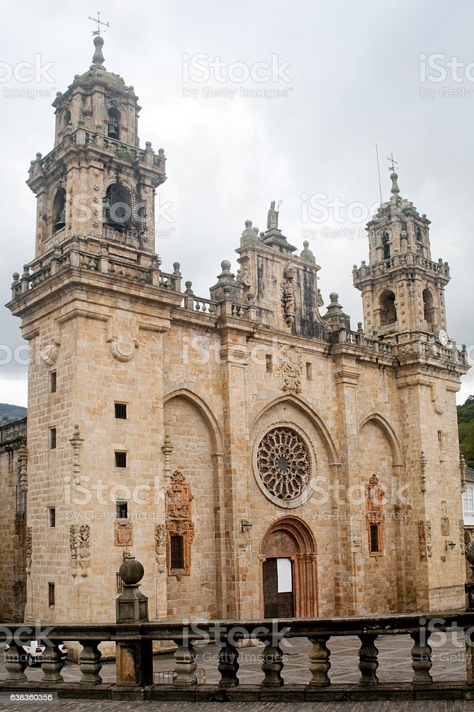 Mondoñedo cathedral facade and town square, Galicia, Spain. stock photo
