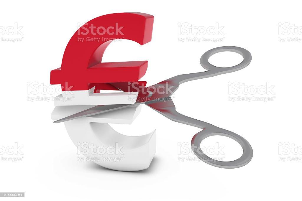 Monegasque Flag Euro Symbol Cut in Half with Scissors stock photo