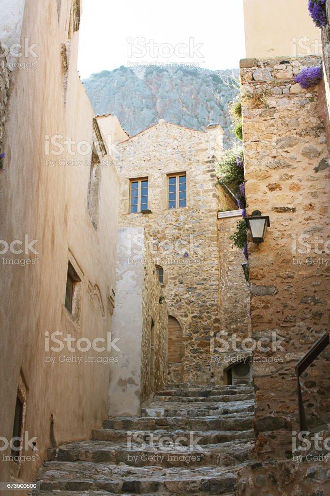 Monemvasia medieval alleys stock photo