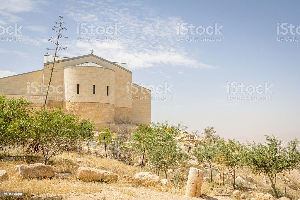 Monestry on top of Mount Nebo in Jordan stock photo