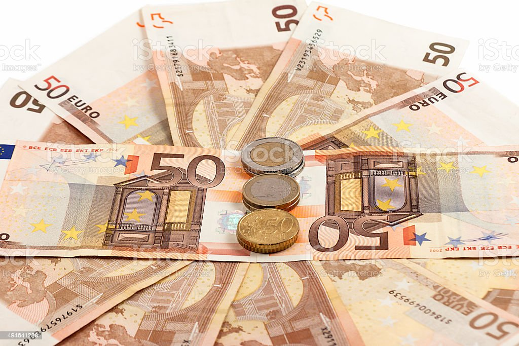 Monetary denominations and coins stock photo