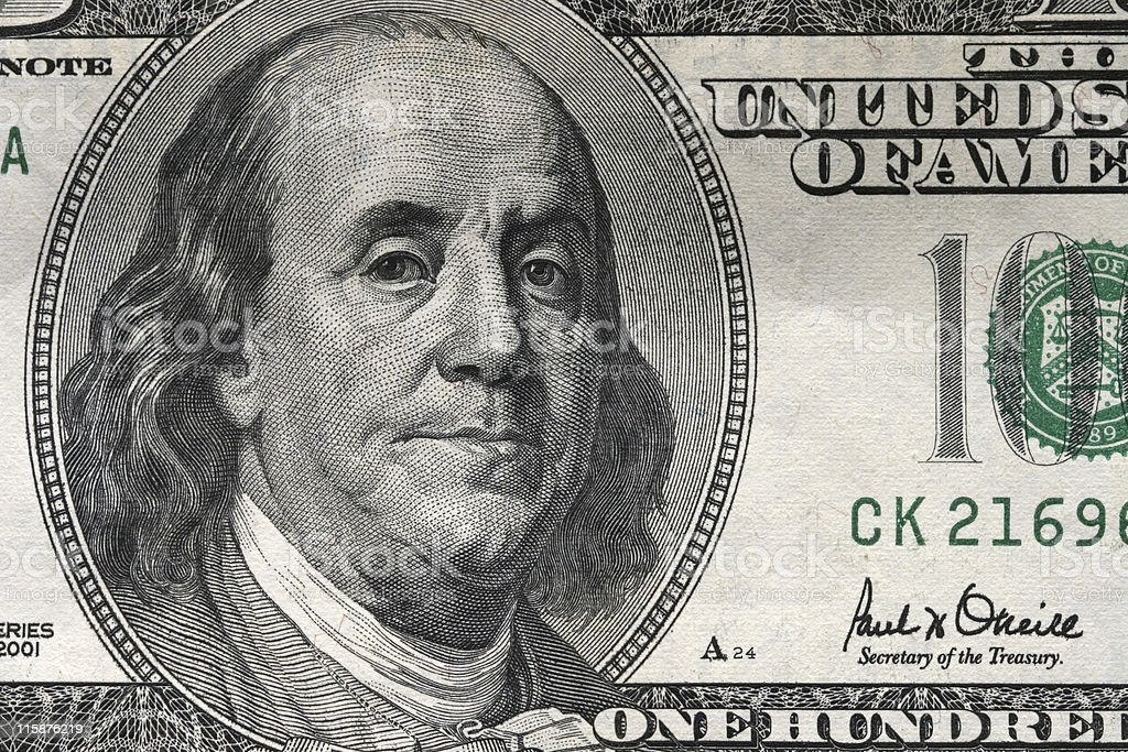 Money $100 Bill Closeup royalty-free stock photo