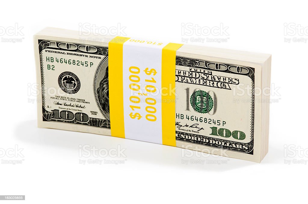 Money $10,000 bundle royalty-free stock photo