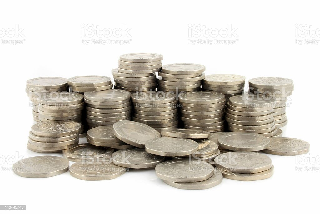 Money - 20 Pence Pieces 3 royalty-free stock photo