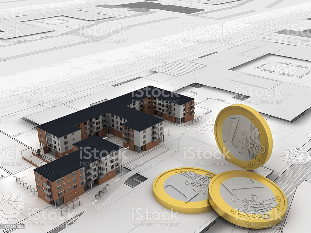 money and apartment building royalty-free stock photo