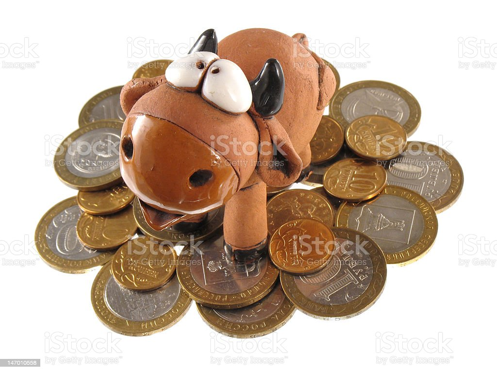 Money and bull. Isolated. royalty-free stock photo