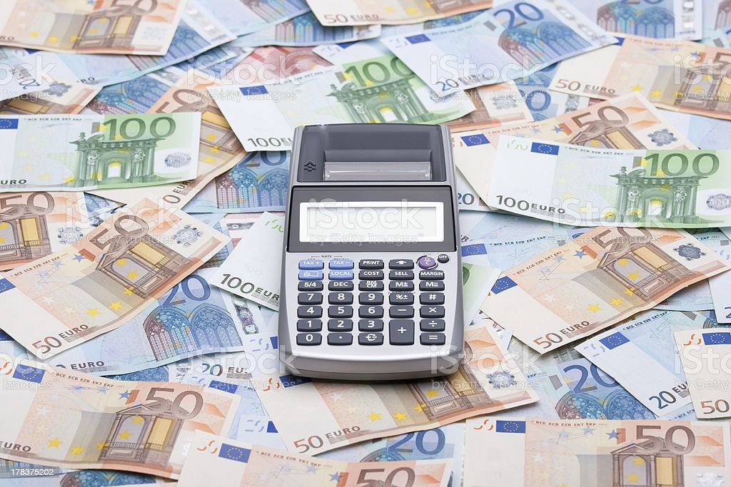 Money and calculator royalty-free stock photo